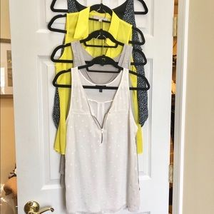 Set of 4 tank tops from Loft, Banana, and Express